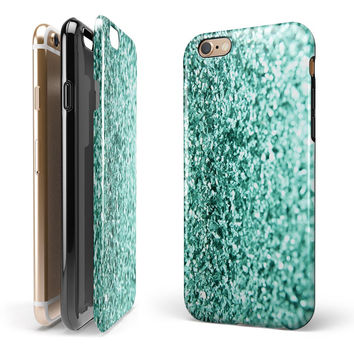 Aqua Green Glimmer 2-Piece Hybrid INK-Fuzed Case for the iPhone 6/6s or 6/6s Plus