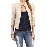 StoneBeige Faux Leather Jacket