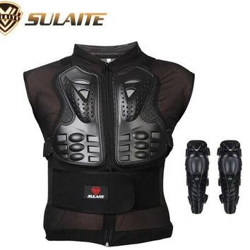 SULAITE Motorcycle Jacket Body Protector Clothes Skate Skiing Full Body Armor Spine Chest Protective Gear Clothing & Knee Pads