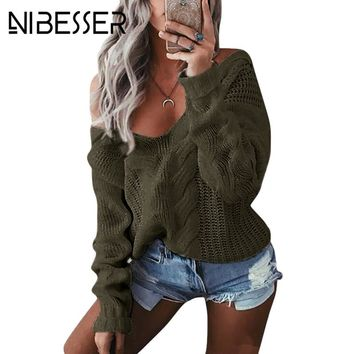 NIBESSER 2017 Sweaters Women Sexy Off Shoulder Christmas Knitted Sweaters Female V-Neck Twist Knitwear Sweaters Streetwear Z30