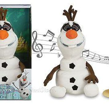 Licensed cool Disney Store Frozen Talking Singing Animated OLAF Plush Snowman Toy Doll NEW