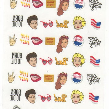 LANA DEL REY  waterslide nail decals - free shipping U S A - Andy Paerels