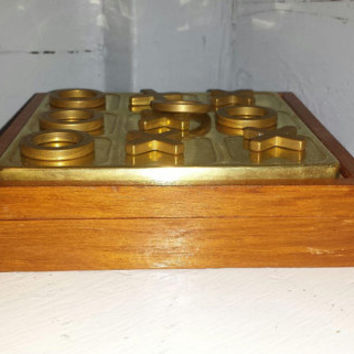 Vintage Wood and Brass Tic Tac Toe Traveling Game Board and Pieces
