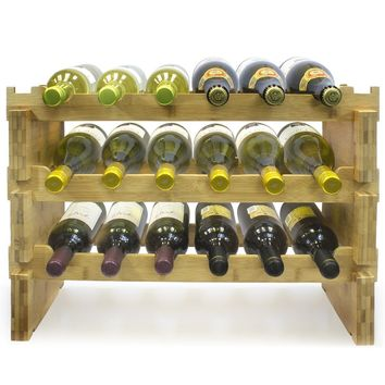 3-Tier Stackable Bamboo Wine Rack  Classic Style Wine Racks for Bottles  Perfect for Bar, Wine Cellar, Basement, Cabinet, Pantry