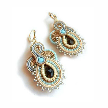 Soutache Earrings, Blue Beige, Handmade Jewelry, Pastel Earrings, Statement Jewelry, Dangling Earrings, Bridal Jewelry