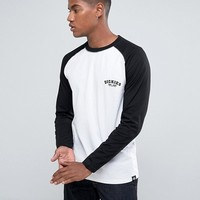 Dickes Baseball Raglan Long Sleeve T-Shirt in White at asos.com