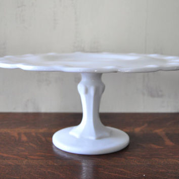 Vintage Milk Glass Cake Plate with Pedestal Glass Cake Stand W & Shop Milk Glass Cake Stand on Wanelo