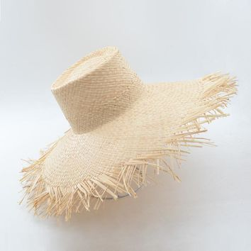 Muchique Bucket Hat Summer Sun Hat for Women Frayed Edge Raffia Straw Beach Hat Hot Fashion Floppy Hats