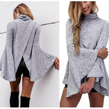The horn sleeve irregular high necked Sweater Girl