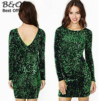 Sequined Dress Women 2017 Special Occasion Bodycon Dress Party Dresses Long Sleeve Mini Dress Green Vestidos