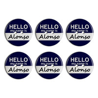 Alonso Hello My Name Is Plastic Resin Button Set of 6