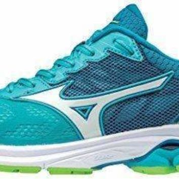Mizuno Women's Wave Rider 21 Running Shoe Athletic Shoe, Peacock Blue/White, 8.5 B US