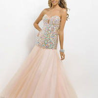 Jeweled Bodice Sweetheart Neckline Fit And Flare Prom Dress By Blush 9747