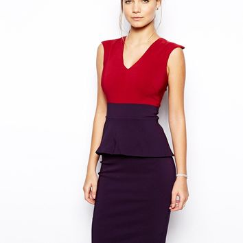 Vesper Dolly Colourblock Dress with Peplum