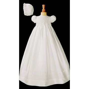 Smocked Silk Christening Gown w. Hand Embroidery Baby Girls 0-12M