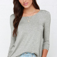 Walk Twist Way Heather Grey Long Sleeve Top