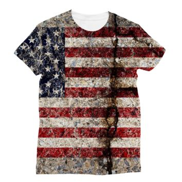 Rustic Cracked Concrete American Flag AWDis Sublimation T-Shirt