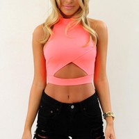 Neon Cutout Sleeveless Crop Top with High Neckline