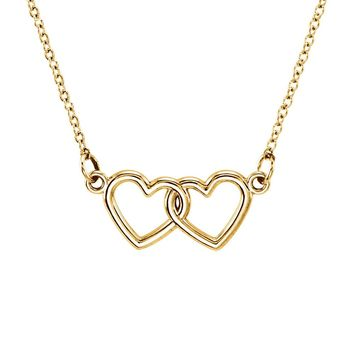 Tiny Double Heart Necklace in 14k Yellow Gold, 18 Inch