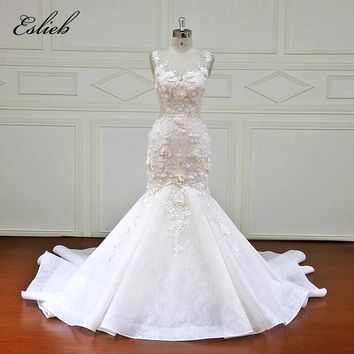 Eslieb Custom made Mermaid Wedding Dresses Appliques Button back Bridal Gowns Vestido De Novias Wedding Dress XF17058