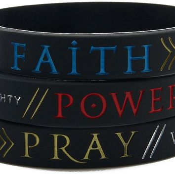 """Faith, Power, Pray"" Bracelets with Engraved Scripture Verses - Bible Jewelry for Christian Men Women"