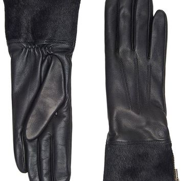 DCCK6H0 UGG Women's Animal Skin Smart Leather Gloves Black MD