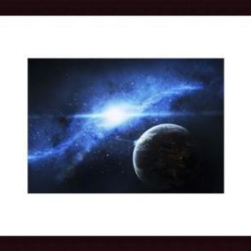 A paradise world with a huge city looks out on a beautiful nebula., framed black wood, white matte