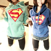 Chic Cute Hoody Coat Superman Print Top Casual Women Pullover Outwear Sweatshirt