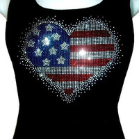American flag Heart Rhinestone crystal  Tank top Shirt Blacks Size:S, To 3XL plus size  Free Shipping Bling Available in White tanktop