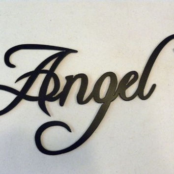 Angel Word Sign Metal Wall Art Home Decor