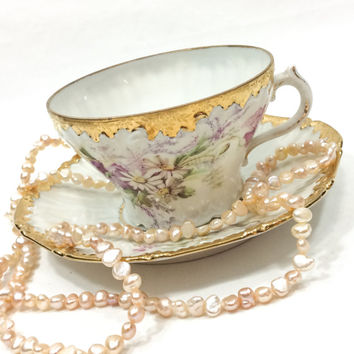 German Tea Cup and Saucer, Purple White Flowers, Heavy Gilding, Shabby Chic Decor, 1905-1924, Antique China