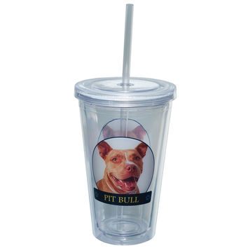 Pit Bull Portait Plastic Pint Cup With Straw