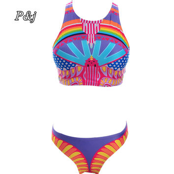 P&j Bikini Sets Summer New Sexy Womens Push Up Padded Top Printed Swimsuit Bathing Suit Swimwear Bikini Bird Print bathing suit