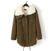 Promithi Womens Winter Cotton Parka Down Quilted Jacket (M, khaki)