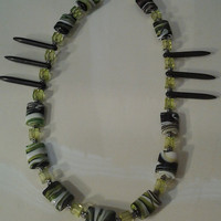 Dressy Textured Green Black Silver & White Necklace