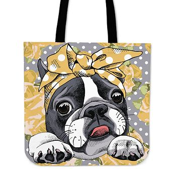Floral Boston Terrier Yellow Linen Tote Bag
