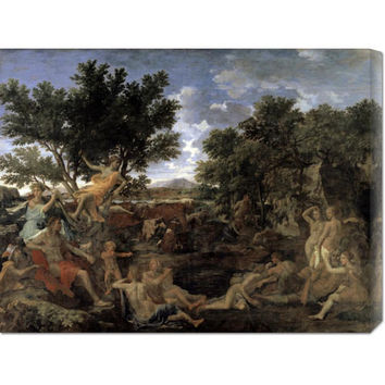 Global Gallery GCS27946730142 Apollo and Daphne by Nicolas Poussin: 30 x 23.04 Canvas Giclees, Wall Art