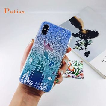 Alice in Wonderland Mermaid Flower Cartoon Princess Case For Coque iPhone X 6 6s 6plus 7 7plus 8 8plus Cases TPU Silicone funda