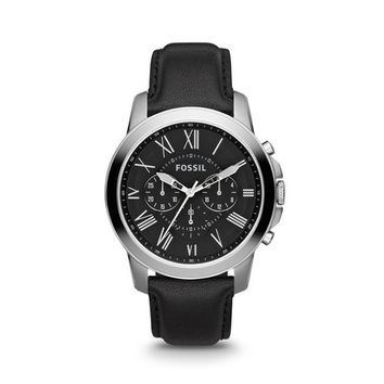 FS4812P Grant Chronograph Black Leather Watch by Fossil for Men - 1 Pc Watch (Size: 1 Pc)