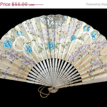 On Sale Antique / Vintage Hand Painted Japanese / SENSU / Paper / Folding  / Hand Fan