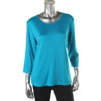 JM Collection Womens Contrast Trim Crew Neck Casual Top