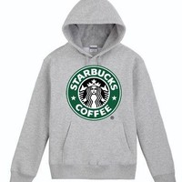 Starbucks Casual Long Sleeve Plus Velvet Hooded Top Sweater Pullover Hoodie