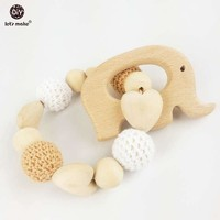 Heart Elephant Wooden Crochet Holder Eco Friendly Baby Teething Baby Shower Gift Dummy Chain Teether