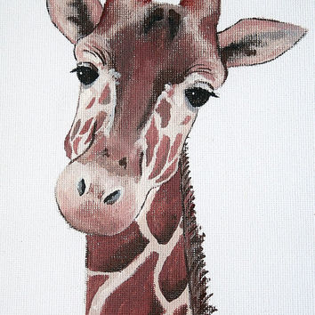 SALE Giraffe Painting, PRINT, giraffe acrylic, giraffe art, nursery art, boys and girls art, PRINT in 8x11inches