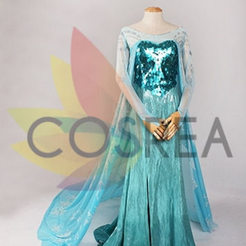 Disney Frozen Elsa Cosplay Dress With Matte Blue Sequin Beads And Free Shipping Worldwide
