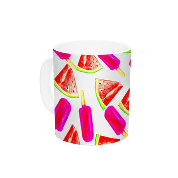 "Sreetama Ray ""Strawberry & Watermelon"" Pink Red Ceramic Coffee Mug"