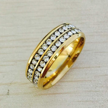 Famous Brand Luxury 18K gold Plated CZ diamond rings Top Classic Design Wedding Band lovers Ring for Women and Men