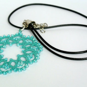 Tatted necklace beadwork lace pendant Elegant statement  wedding jewelry