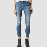 ALLSAINTS US: Womens Nim Highwaisted Crop Jeans (Fresh Blue)