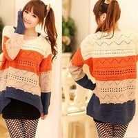Bat sleeve hit color hollow sweater  JCHG